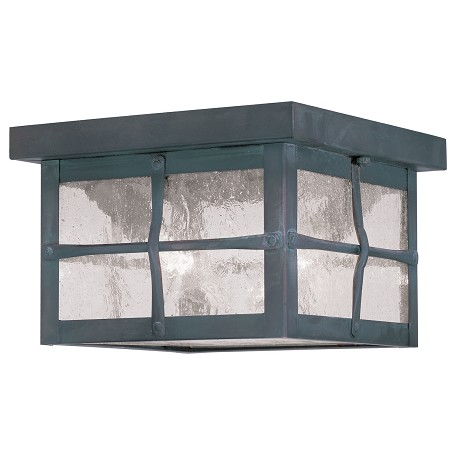 "Brighton Collection 2-Light 8"" Hammered Charcoal Finish Outdoor Ceiling Mount with Seeded Glass 2688-61"