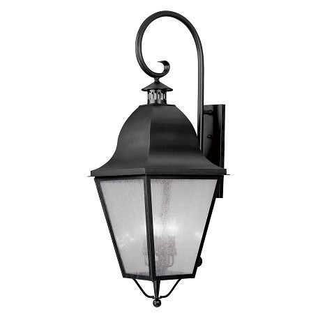 Black 4 Light 240W Outdoor Wall Sconce With Candelabra Bulb Base And Seeded Glass From Amwell Series