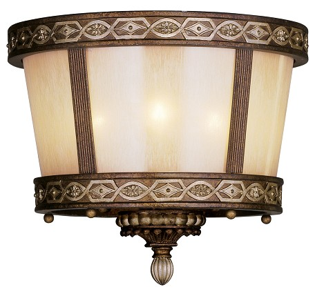 Palacial Bronze with Gilded Accents 3 Light 180 Watt Flush Mount Ceiling Fixture with Hand Crafted Gold Dusted Art Glass from the Seville Collection