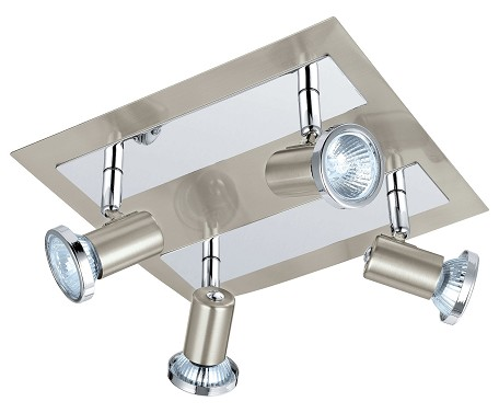 Matte Nickel and Chrome Rottelo 4x50W Track Light in Matte Nickel and Chrome Finish