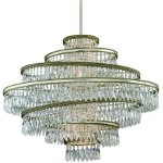 "Diva Collection 5-Light 30"" Silver and Gold Leaf Pendant with Crystal Drops 132-46"