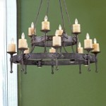 "Cambridge Collection 16-Light 44"" Moonlit Rust Chandelier with Stone Candle Covers 14006/8+4+4"