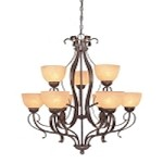 "Brook field Collection 9-Light 35"" Brownstone Chandelier with Faux Alabaster Glass Shade 14429-BST"
