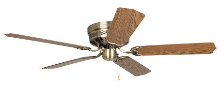 "Close-Up Collection 52"" Antique Brass Ceiling Fan with Oak/Mahogany Blades CU52AB5"