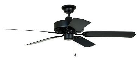 "Cove Harbor Collection 52"" Matte Black Outdoor Ceiling Fan with Matte Black ABS Blades WOD52MBK5P"