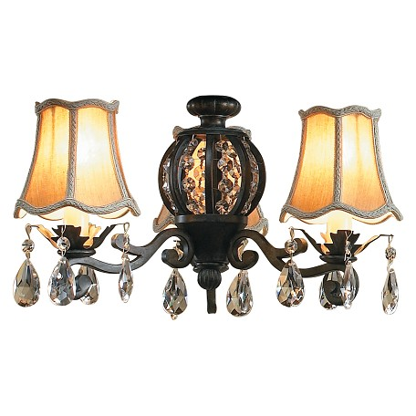 Craftmade Antique Verde Antoinette Light With Three 40 Watt Lights And Silk Shades Miscellaneous
