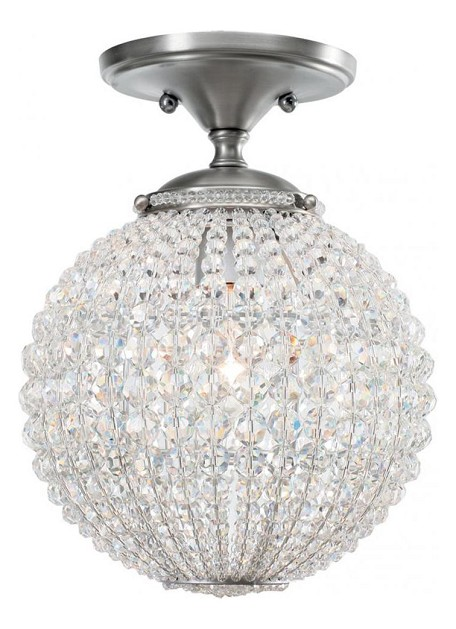 "Newbury Collection 1-Light 10"" Antique Pewter Semi-Flush Mount with Hand Cut Crystal Beads 6750-AP"