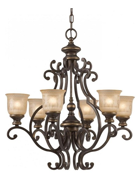 "Norwalk Collection 6-Light 28"" Bronze Umber Chandelier 7416-BU"