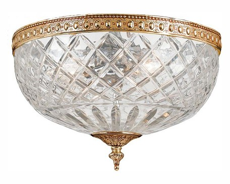 "Richmond Collection 2-Light 10"" Olde Brass Flush Mount with Lead Crystal 117-10-OB"