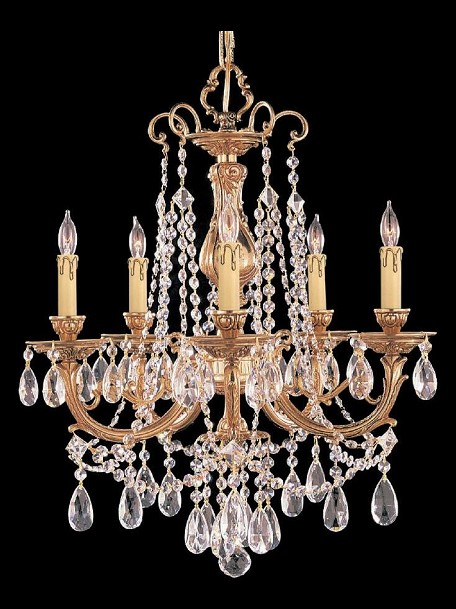 "Etta Collection 5-Light 20"" Olde Brass Mini Chandelier with Hand Polished Crystal 475-OB-CL-MWP"