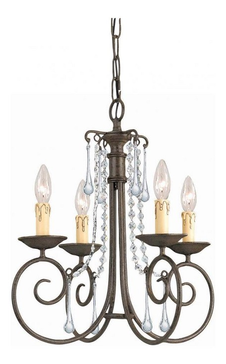 "SOHO Collection 4-Light 17"" Dark Rust Mini Chandelier with Swarovski Spectra Crystal 5204-DR-CL-SAQ"