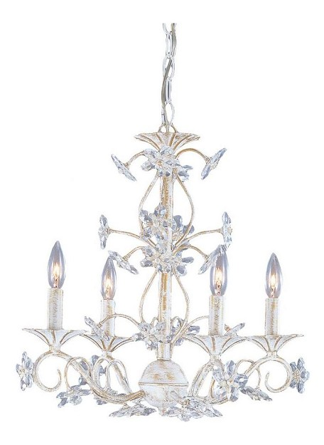 "Abbie Collection 4-Light 18"" Antique White Mini Chandelier with Hand Polished Crystal 5404-AW"