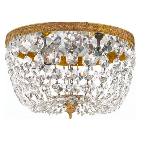 "Richmond Collection 2-Light 8"" Olde Brass Flush Mount with Swarovski Spectra Crystal 708-OB-CL-SAQ"
