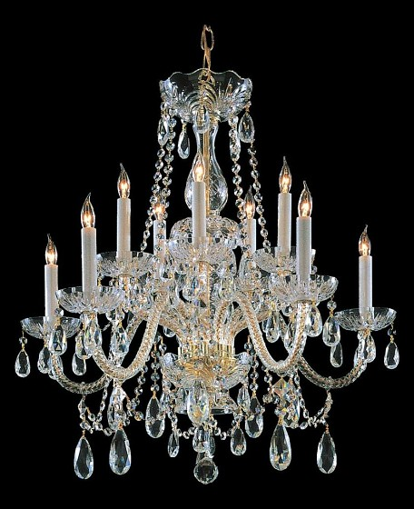 "Traditional Crystal Collection 10-Light 26"" Polished Brass Chandelier with Swarovski Elements Crystal 1130-PB-CL-S"