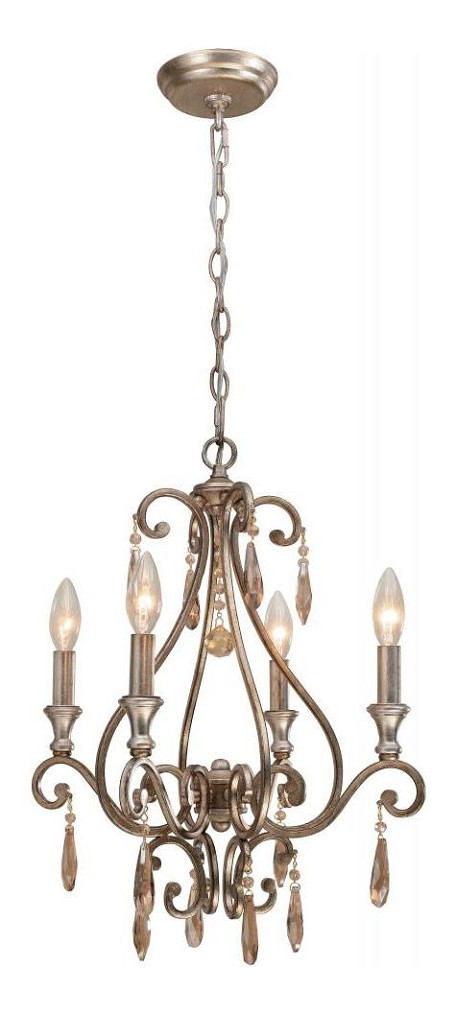 "Shelby Collection 4-Light 17"" Distressed Twilight Mini Chandelier with Golden Shadow Hand Cut Crystal 7524-DT"