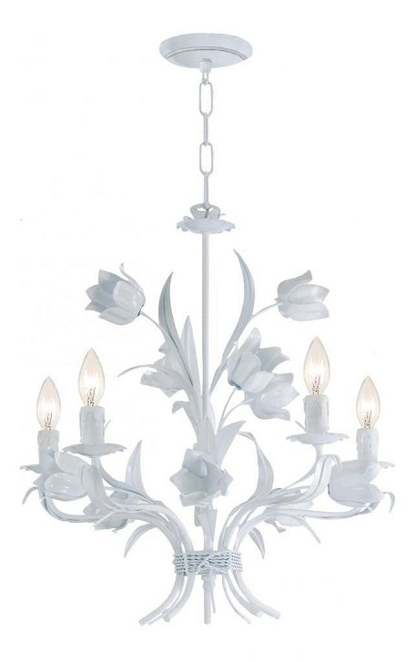 "Southport Collection 5-Light 20"" Wet White Mini Chandelier 4815-WW"