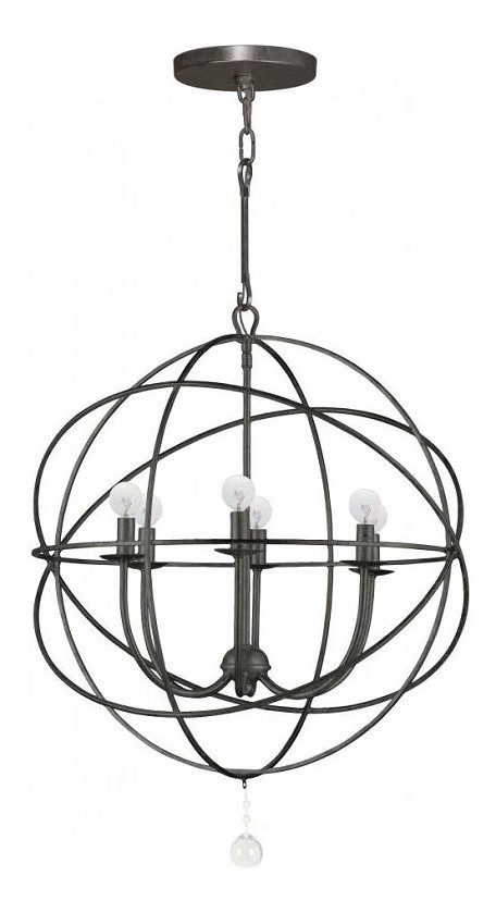 English Bronze Solaris 6 Light 23in. Wide Wrought Iron Chandelier