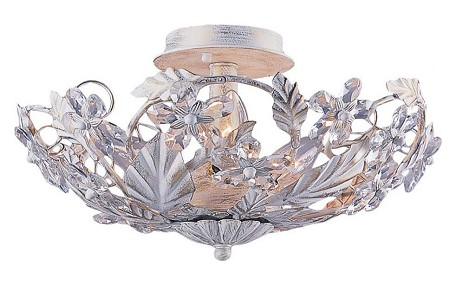 "Abbie Collection 6-Light 16"" Antique White Semi-Flush Mount with Hand Polished Crystal 5316-AW"