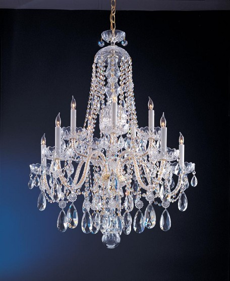 "Traditional Crystal Collection 10-Light 32"" Polished Brass Chandelier with Swarovski Elements Crystal 1110-PB-CL-S"