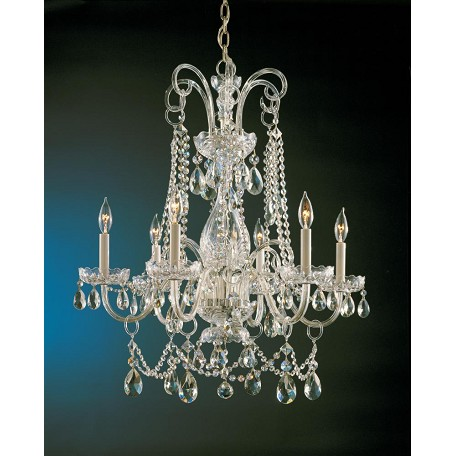 "Traditional Crystal Collection 6-Light 28"" Polished Brass Chandelier with Swarovski Elements Crystal 1030-PB-CL-S"