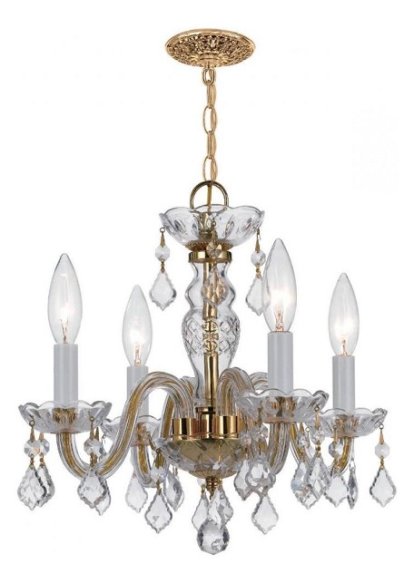 "Traditional Crystal Collection 4-Light 15"" Polished Brass Mini Chandelier with Clear Hand Cut Crystal 1064-PB-CL-MWP"