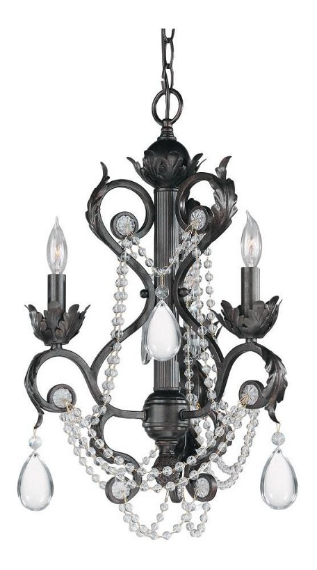 "Winslow Collection 3-Light 16"" Dark Rust Mini Chandelier with Optical Crystal 6703-DR"