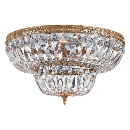 "Richmond Collection 6-Light 24"" Olde Brass Flush Mount with Hand Polished Crystal 724-OB-CL-MWP"