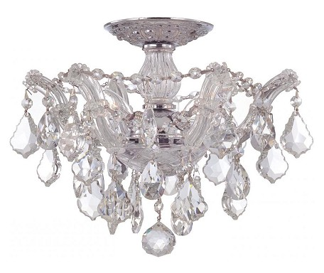 Crystorama Three Light Polished Chrome Hand Polished Glass Bowl Semi-Flush Mount - 4430-CH-CL-MWP