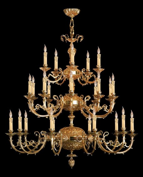 Olde Brass Etta 25 Light 48in. Wide 3 Tier Cast Brass Candle Style Chandelier