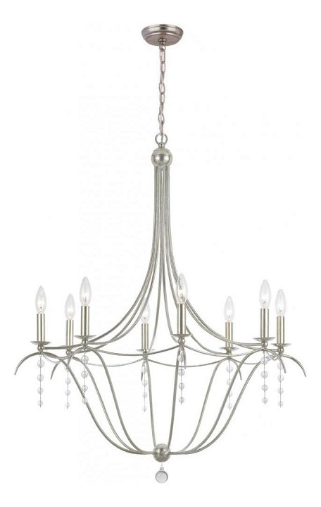 Antique Silver / Clear Beads Hot Deal 8 Light Candle Style Chandelier