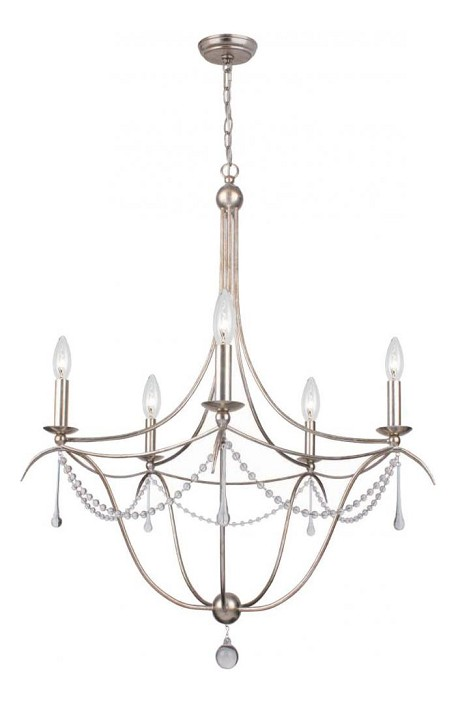 Antique Silver Metro 5 Light 28in. Wide Wrought Iron Candle Style Chandelier with Clear Glass Beads and Murano Crystal