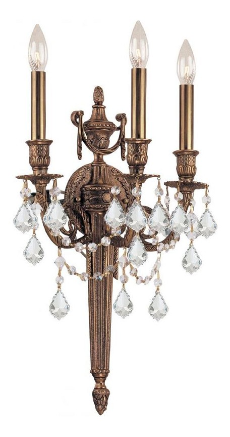 "Arlington Collection 3-Light 12"" Matte Brass Wall Sconce with Swarovski Elements Crystal 753-MB-CL-S"
