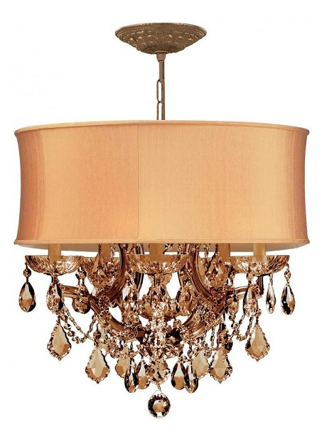 Crystorama Six Light Antique Brass Golden Teak Swarovsi Strass Glass Up Chandelier - 4415-AB-SHG-GTS