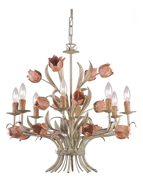 "Southport Collection 8-Light 24"" Sage/Rose Chandelier 4808-SR"