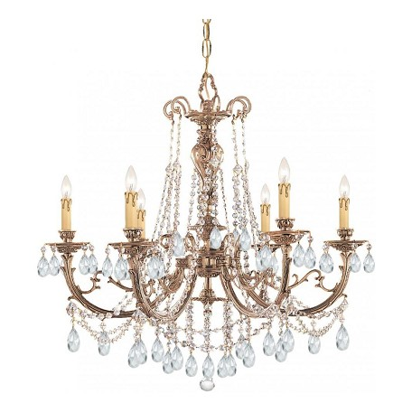Crystorama Six Light Olde Brass Hand Polished Glass Up Chandelier - 476-OB-CL-MWP