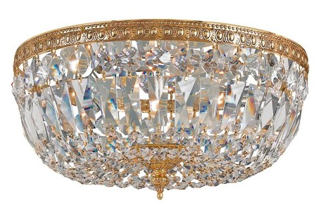 "Richmond Collection 3-Light 12"" Olde Brass Flush Mount with Hand Polished Crystal 712-OB-CL-MWP"