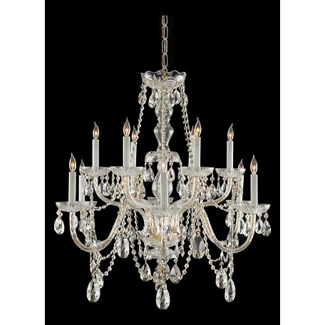 "Traditional Crystal Collection 12-Light 31"" Polished Brass Chandelier with Hand Polished Crystal 1135-PB-CL-MWP"