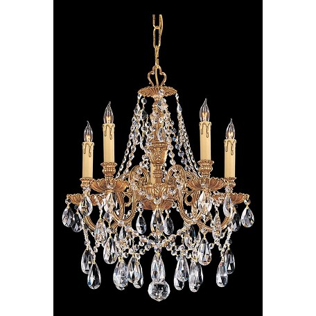 "Novella Collection 5-Light 18"" Olde Brass Mini Chandelier with Hand Polished Crystal 2705-OB-CL-MWP"