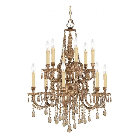 "Novella Collection 12-Light 26"" Olde Brass Chandelier 2812-OB-GT-MWP"