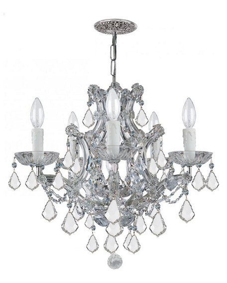 Crystorama Six Light Polished Chrome Swarovski Elements Glass Up Chandelier - 4405-CH-CL-S