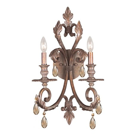 "Royal Collection 2-Light 12"" Florentine Bronze Wall Sconce 6902-FB-GT-MWP"