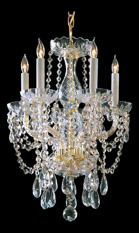 "Traditional Crystal Collection 5-Light 14"" Polished Brass Mini Chandelier with Swarovski Spectra Crystal 1129-PB-CL-SAQ"