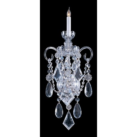"Traditional Crystal Collection 1-Light 9"" Polished Chrome Wall Sconce with Hand Polished Crystal 1041-CH-CL-MWP"