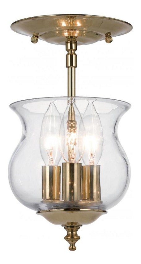 "Collins Collection 3-Light 6"" Polished Brass Pendant with Glass 5715-PB"