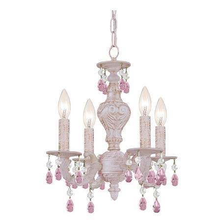 Crystorama Four Light Antique White Rose Colored Hand Polished Glass Up Chandelier - 5024-AW-RO-MWP