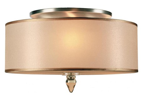 "Luxo Collection 3-Light 14"" Antique Brass Semi-Flush Mount with Organza 9503-AB"