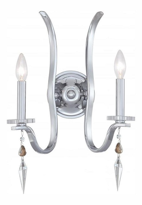"Flow Collection 2-Light 14"" Chrome Wall Sconce with Hand Polished Crystal and Glass Balls 1572-CH-MWP"