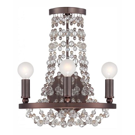 "Channing Collection 3-Light 12"" Chocolate Bronze Wall Sconce with Hand Cut Crystal Beads 1542-CB-MWP"