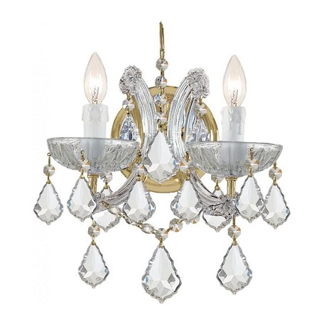 "Maria Theresa Collection 2-Light 10"" Gold Wall Sconce with Hand Polished Crystal 4472-GD-CL-MWP"