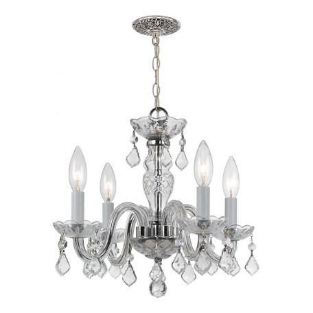 "Traditional Crystal Collection 4-Light 15"" Polished Chrome Mini Chandelier with Swarovski Spectra Crystal 1064-CH-CL-SAQ"